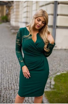 Sukienka z kopertowym dekoltem i koronką KM56K-7