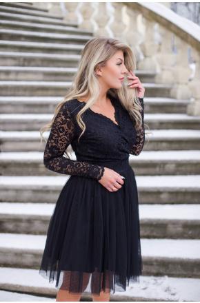 Wieczorowa sukienka z tiulu i koronki KM280
