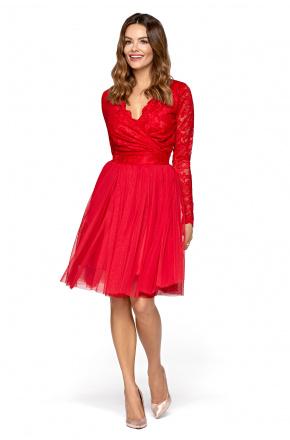 Wieczorowa sukienka z tiulu i koronki KM280-1