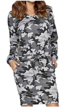 Dzianinowa sukienka z paskiem KM281 moro