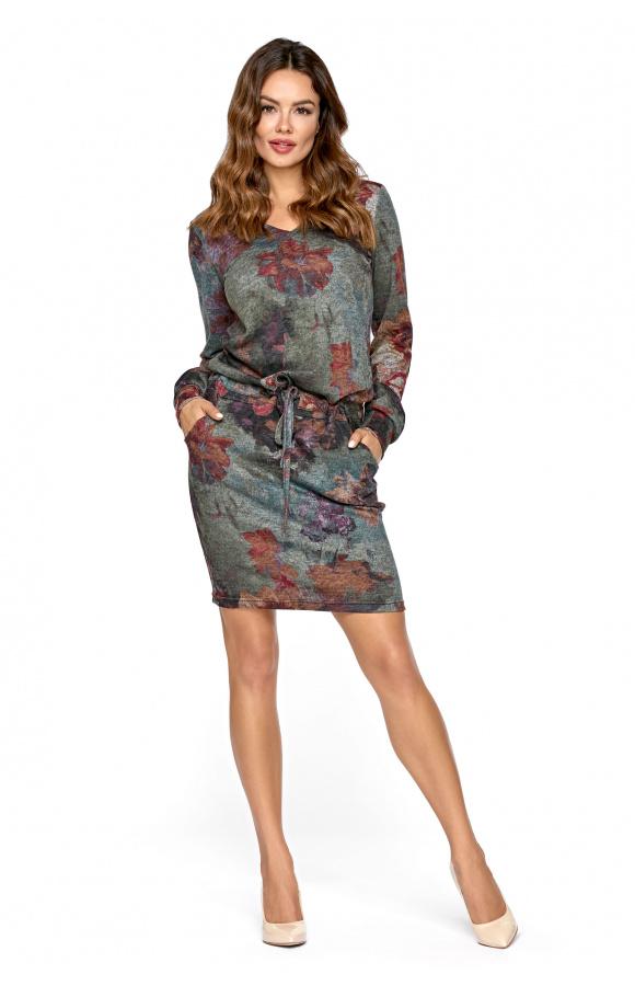 2d6369586e Dzianinowa sukienka z paskiem KM283 KWIATY - ❤ Kartes-Moda ❤