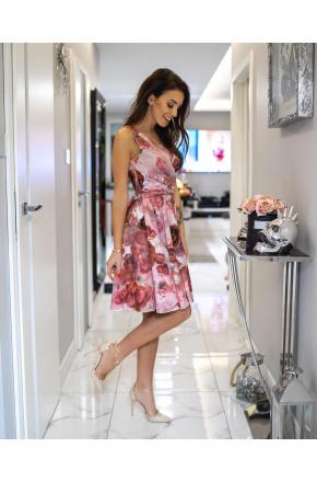 Cudowna sukienka z szyfonu w róże KM287
