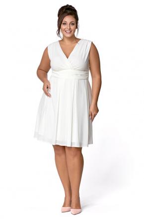 Sukienka z szyfonu kopertowy dekolt Km117-7PS na wesele