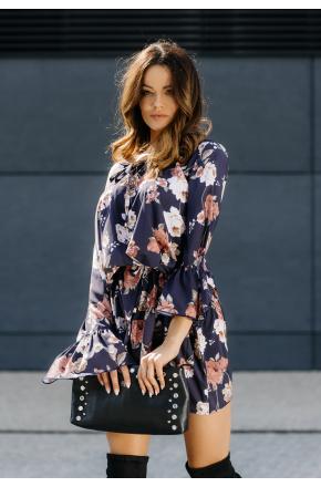 Granatowa sukienka w kwiaty boho KM290