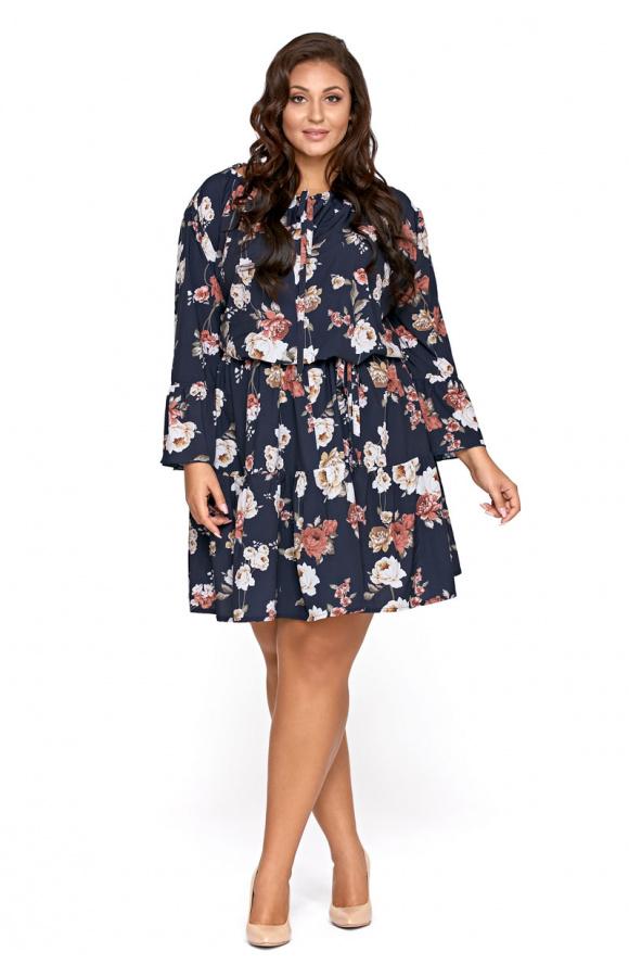 8fca9961 Granatowa sukienka w kwiaty boho plus size KM290PS
