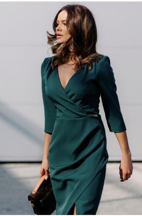 Wizytowa sukienka z kopertowym dekoltem KM293-6