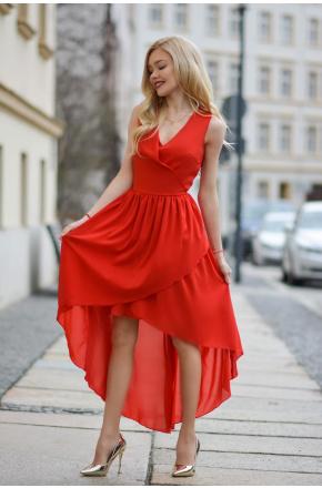 Asymetryczna sukienka z szyfonu KM268-1