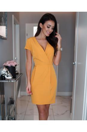 Elegancka sukienka z kopertowym dekoltem KM295-7
