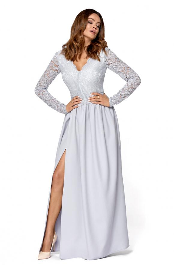 Zachwycająca, jasnoszara sukienka maxi o niebanalnym designie.