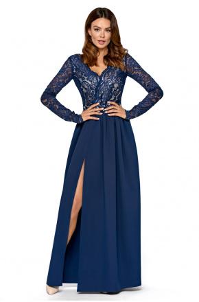 Długa sukienka z koronkową górą KM297-3