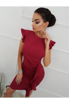 Bordowa mini sukienka z falbaną na wesele Km66K-4