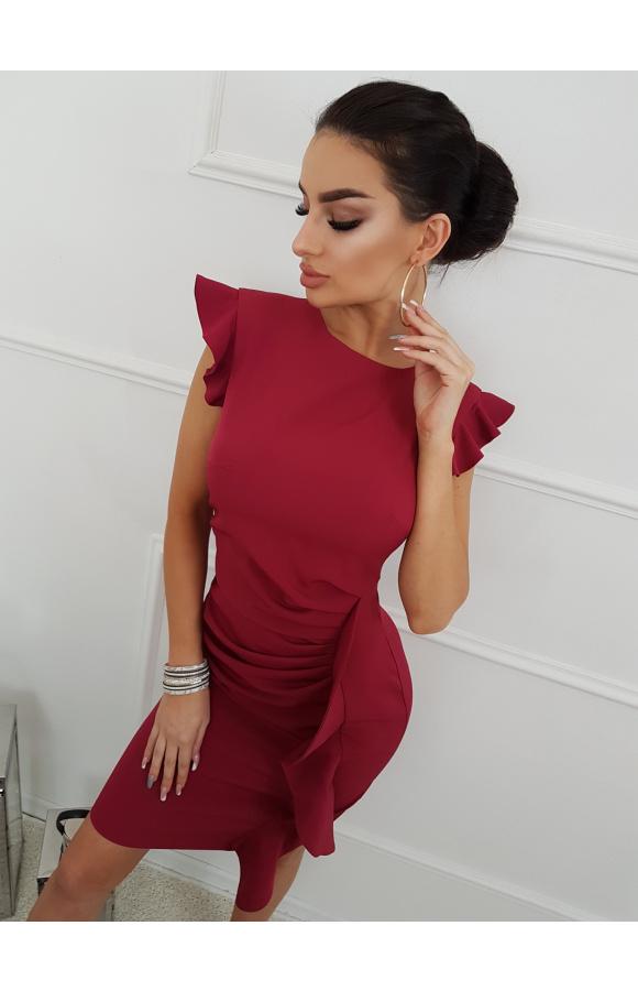 Bordowa mini sukienka z falbaną na wesele Km66K 4