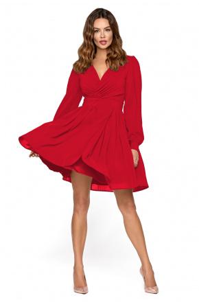 Czerowna koktajlowa sukienka z szyfonu km298-1