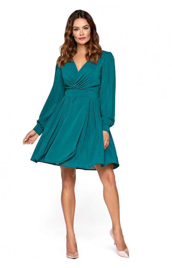 67216a115b Pili -Zielona koktajlowa sukienka z szyfonu km298-6 - ❤ Kartes-Moda ❤