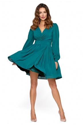 Pili -Zielona koktajlowa sukienka z szyfonu km298-6