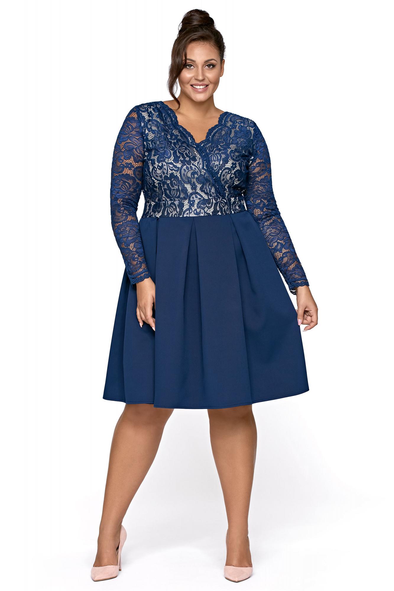 eb167166f1 Alba- Rozkloszowana sukienka z koronką KM306-3 - ❤ Kartes-Moda ❤