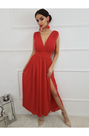 Elen Zjawiskowa czerwona suknia maxi KM305-1