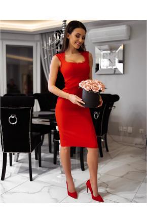 Mia- Elegancka wizytowa sukienka z falbanką KM304-1