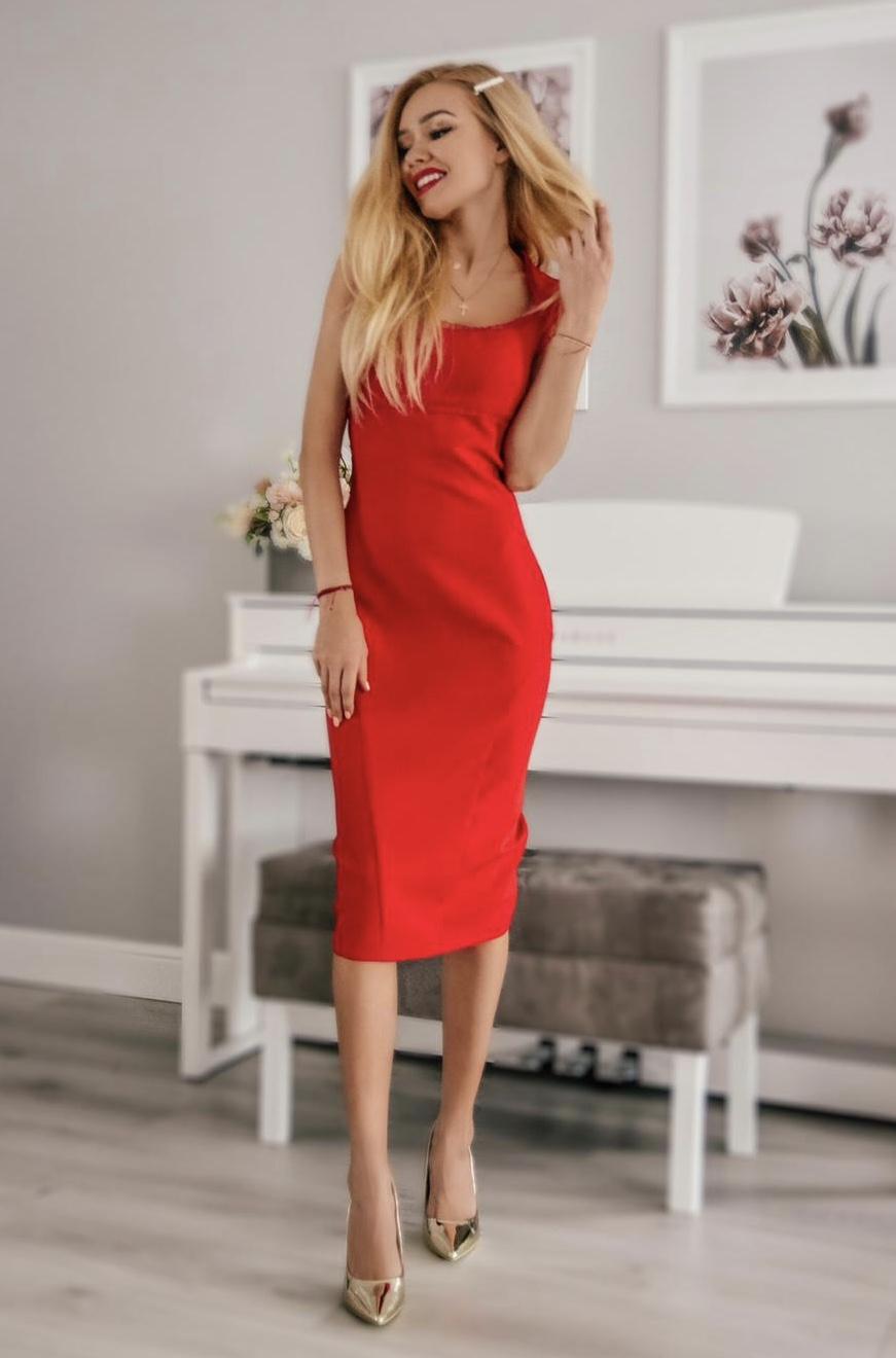efae85dc0c Mia- Elegancka wizytowa sukienka z falbanką KM304-1 - ❤ Kartes-Moda ❤