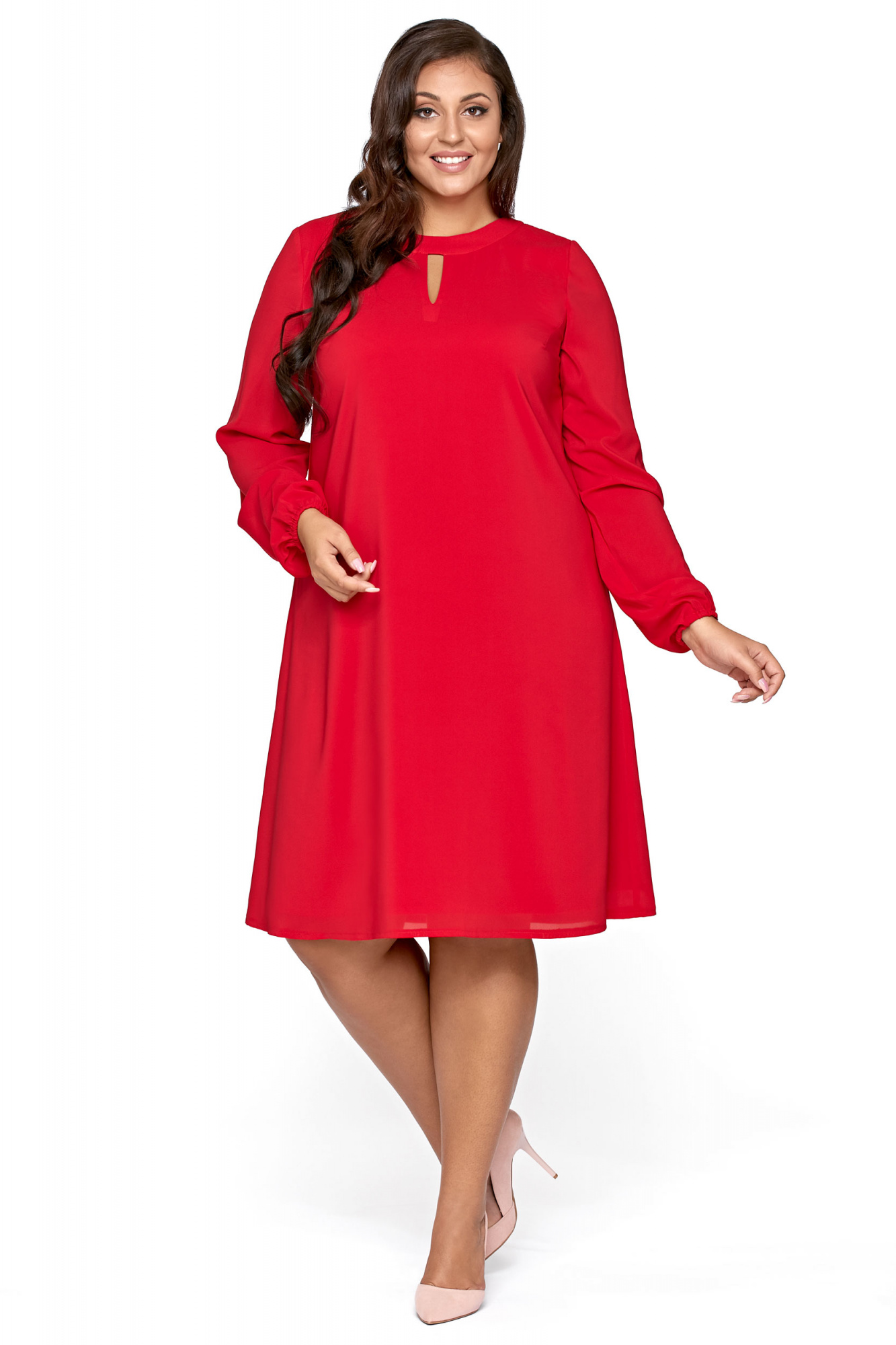 d4eccfc3 Lita- Trapezowa sukienka z szyfonu KM300-1PS - ❤ Kartes-Moda ❤