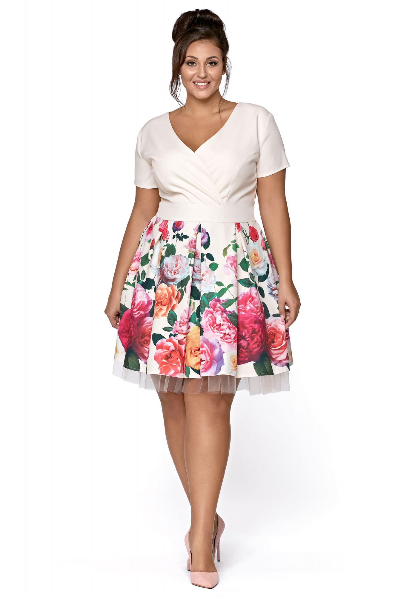 033ad50c6a Rozkloszowana wizytowa sukienka w kwiaty km223-1ps - ❤ Kartes-Moda ❤