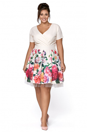 Rozkloszowana wizytowa sukienka w kwiaty km223-1ps