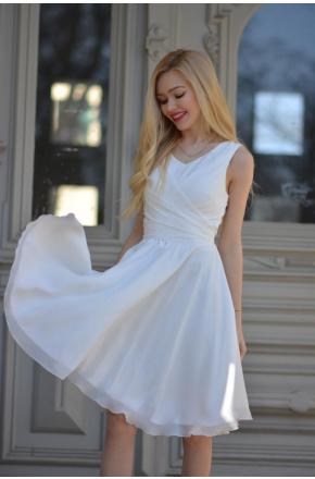 Sukienka Cudowna z szyfonu KM227-6 Krem