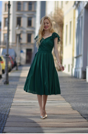 Sukienka Elegancka midi na wesele z koronką Julia KM313-6