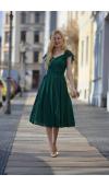 Elegancka sukienka midi idealna na wesele i inne, poważne uroczystości, także niektóre formalne.