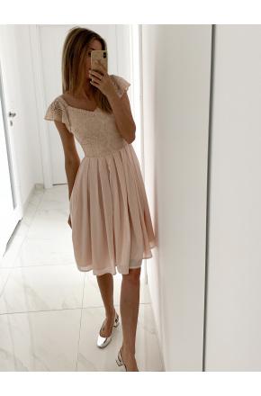 Julia- Elegancka sukienka midi na wesele z koronką KM313-4