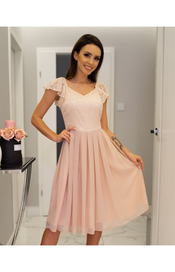 Julia Elegancka sukienka midi na wesele z koronką KM313 4
