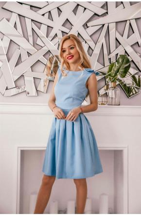 Iga - Rozkloszowana sukienka z kokardkami KM112-7