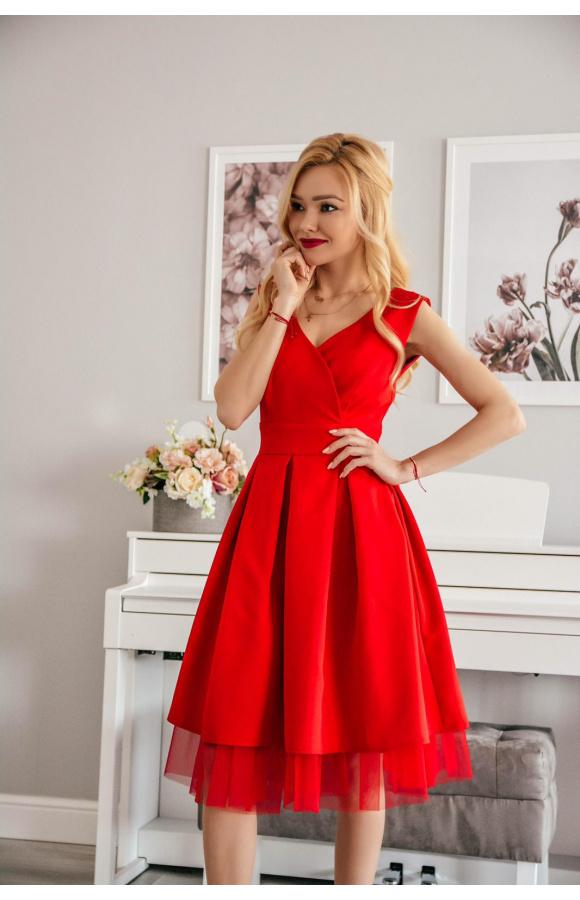 4c612d8c4c Eva -Rozkloszowana sukienka na wesele z tiulem km314-1 - ❤ Kartes-Moda ❤