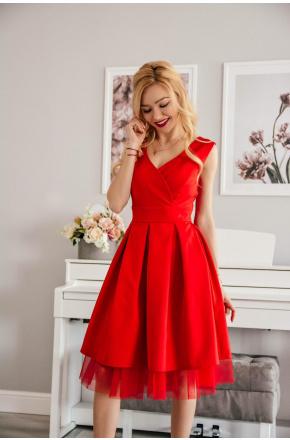 Eva -Rozkloszowana sukienka na wesele z tiulem km314-1