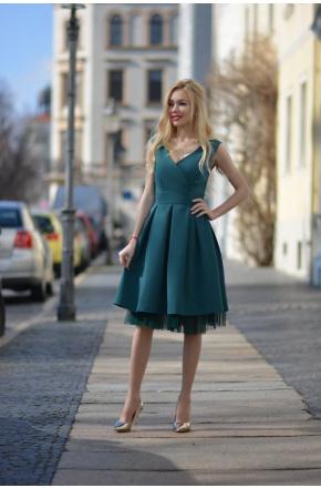 Eva -Rozkloszowana sukienka na wesele z tiulem km314-6