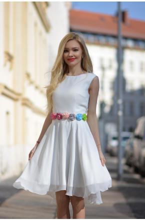 Fiore- Sukienka z paskiem w kwiaty KM318 Kolekcja limitowana!