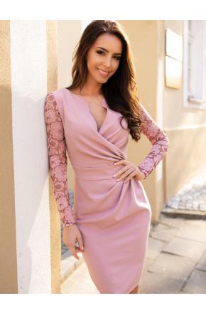 Sukienka z kopertowym dekoltem i koronką KM56K-8