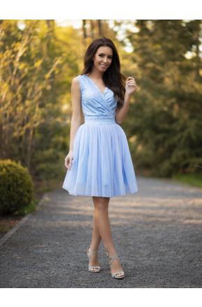 Donna- Bajeczna tiulowa sukienka z koronkową górą KM319-3