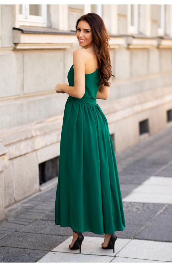 Sukienka maxi z ramiączkiem na jedno ramię, z odcinanym dołem i odważnym rozcięciem wzdłuż nogi.