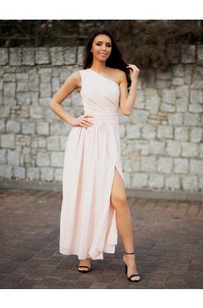 Paula-  Beżowa asymetryczna sukienka maksi KM320-3