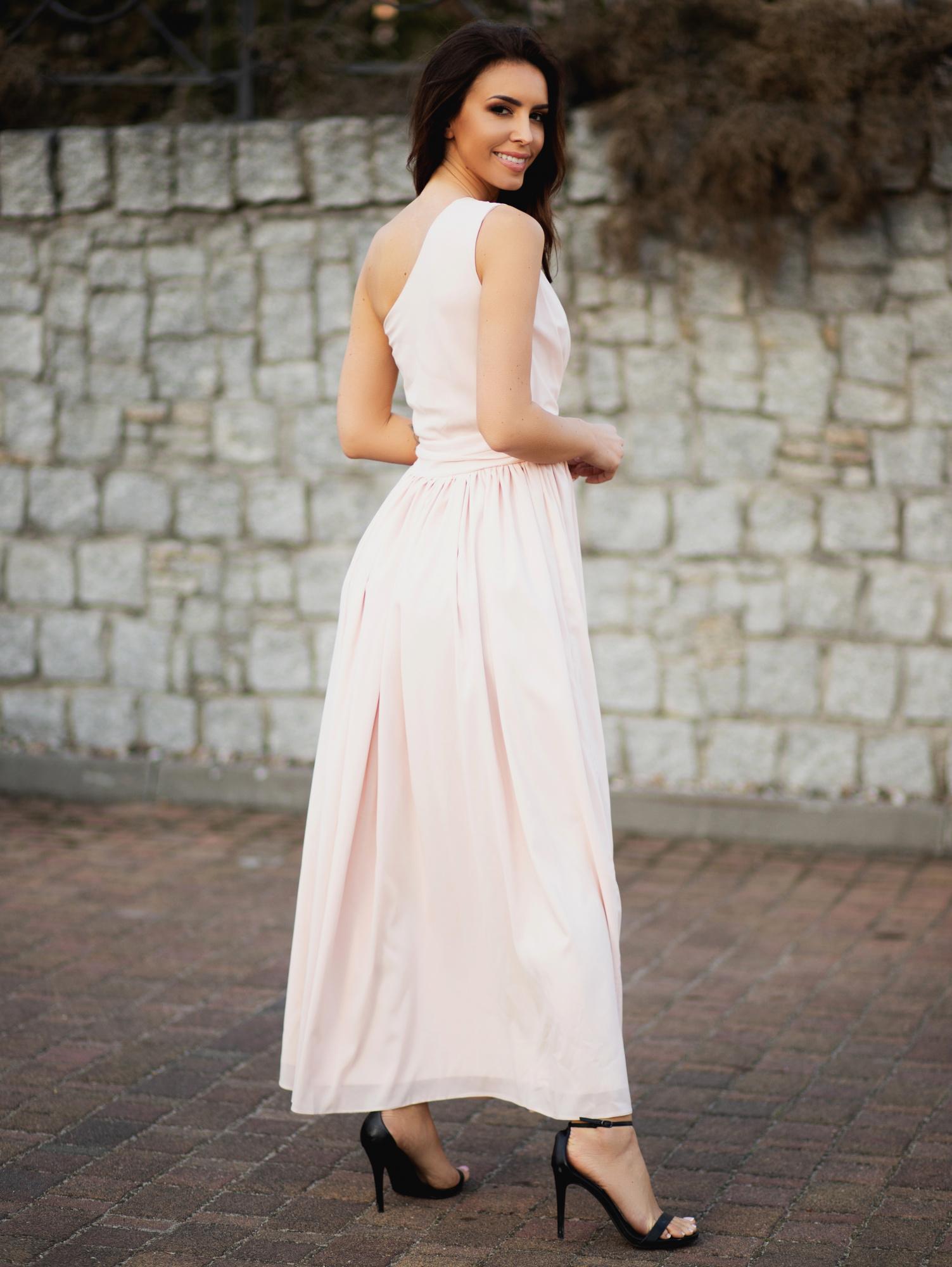 3e773dd211 Paula- Beżowa asymetryczna sukienka maksi KM320-3 - ❤ Kartes-Moda ❤