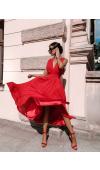 Wspaniała, klasyczna sukienka maxi na ramiączkach, odcinana w pasie z rozkloszowanym dołem.