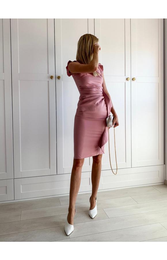 Elegancka kreacja midi na wesele i ważne wyjścia. Ma bardzo krótki rękaw i minimalny dekolt.