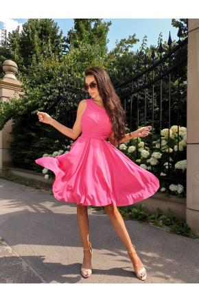 Cudowna sukienka z szyfonu KM227-7 Fuksja