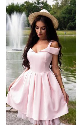 Amelia -  Różowa sukienka z tiulem  KM323-4