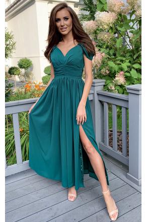 Sukienka Zielona długa z szyfonu Emma KM315-6