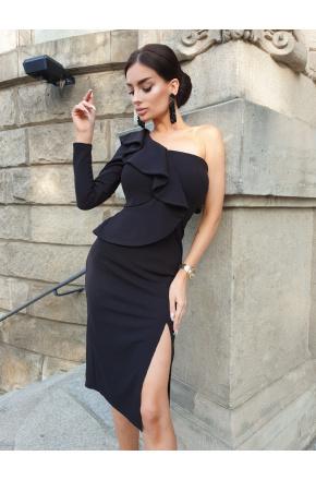 Inez Czarna asymetryczna sukienka z falbaną KM325