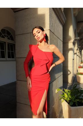 Inez Czerwona asymetryczna sukienka z falbaną KM325-1