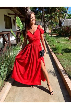 Emma - Czerwona długa sukienka z szyfonu KM315-1