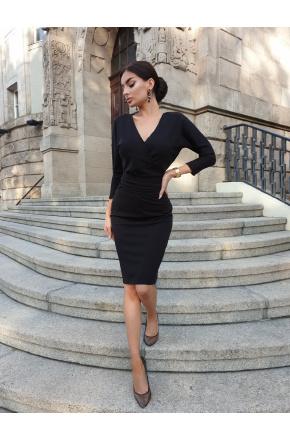 Elena Czarna wizytowa sukienka z paskiem KM326